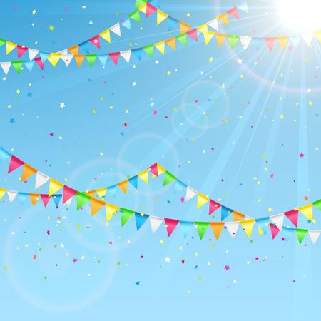 Wimpels en kleurrijke confetti op een hemel achtergrond, illustratie.