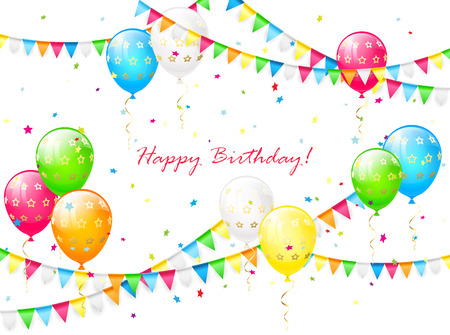 streamers: Birthday background with balloons, streamers, colorful confetti and pennants, illustration.