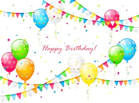 serpentinas: Fondo de cumpleaños con globos, serpentinas, confeti de colores y banderines, ilustración.