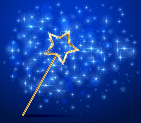 Golden magic wand on blue sparkle background, illustration. Ilustração