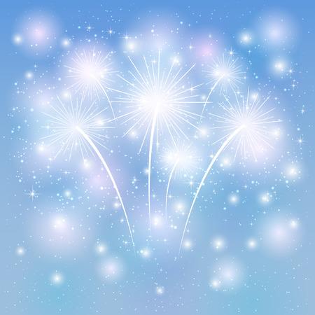 불꽃 놀이 파란색 배경, 그림에 빛난다.