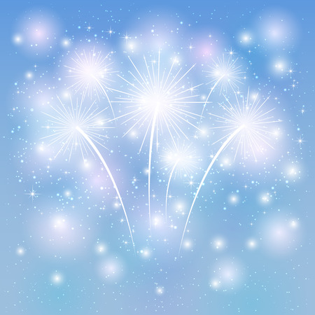 Fireworks shine on the blue background, illustration.