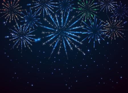 Shiny fireworks on dark blue background, illustration. Stock Illustratie