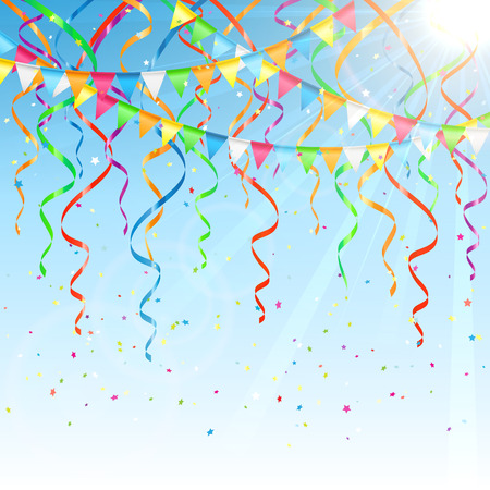 streamers: Birthday background with colorful  streamers, confetti and pennants, illustration. Illustration