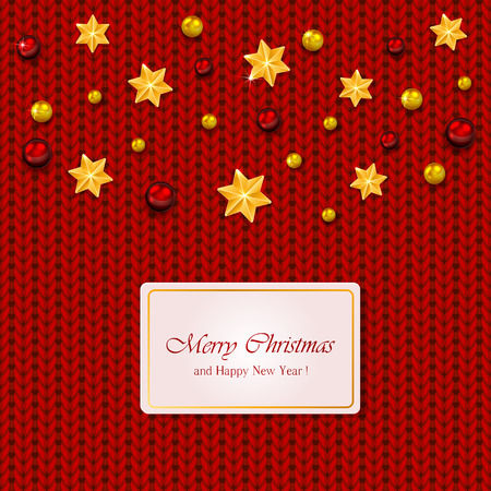 knitted background: Christmas elements on red knitted background, illustration.
