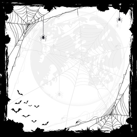 Halloween abstract background with Moon, black spiders and bats, illustration. Çizim