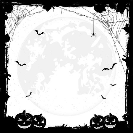 calabazas de halloween: Grunge fondo de Halloween con calabazas, murci�lagos y ara�as, ilustraci�n.