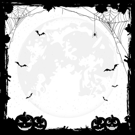 black and white frame: Grunge Halloween background with pumpkins, bats and spiders, illustration.