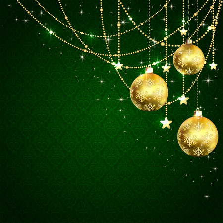 Christmas golden balls, stars and decorative elements on green wallpaper, illustration.