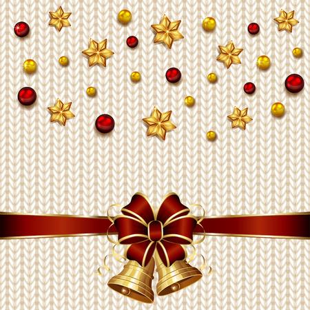 knitted background: Campanas de Navidad en blanco de punto de fondo, ilustraci�n. Vectores