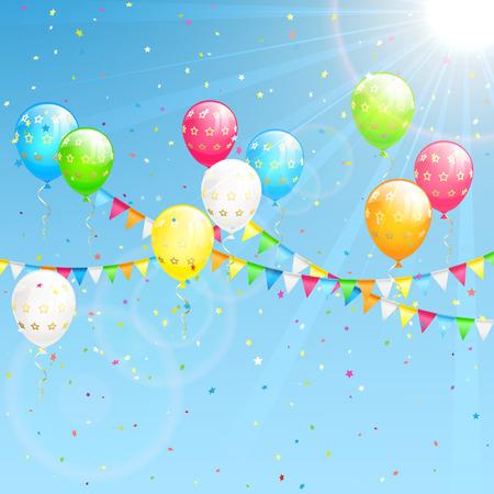 serpentinas: Decoración de cumpleaños con globos de colores, confeti y banderines en el fondo del cielo, ilustración.
