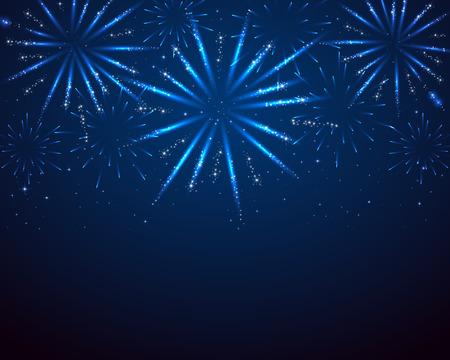 Blue sparkle fireworks on dark background, illustration. Stock Illustratie