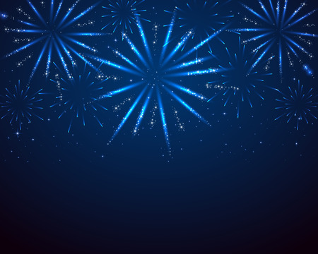 Blue sparkle fireworks on dark background, illustration. Vectores