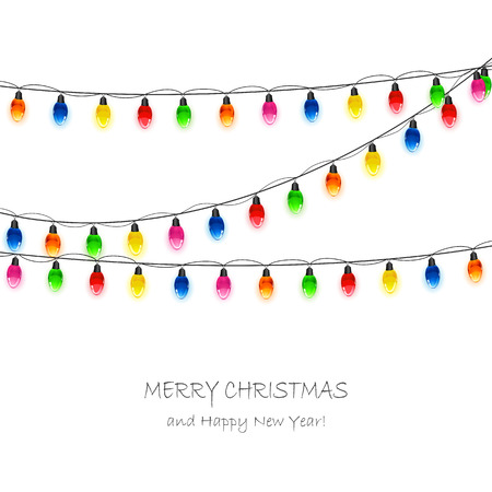 christmas bulbs: Christmas light bulbs on white background, illustration. Illustration