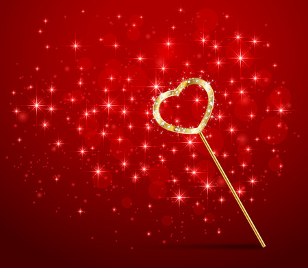 faerie: Golden magic wand with heart on red sparkle background, illustration.