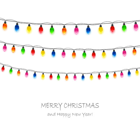 multicolored: Multicolored Christmas light bulbs on white background, illustration.