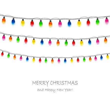 christmas light bulbs: Multicolored Christmas light bulbs on white background, illustration.