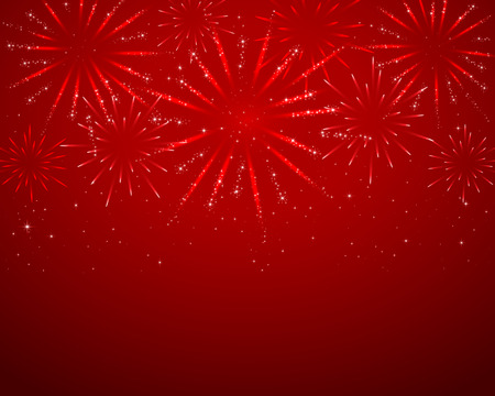 Red sparkle fireworks on dark background, illustration. Çizim
