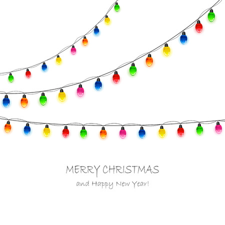 christmas bulbs: Multicolored Christmas light bulbs hanging on white background, illustration.