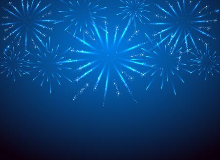 celebra: Los fuegos artificiales de la chispa en el fondo azul, ilustración.