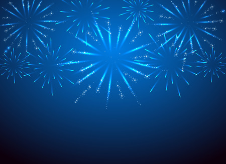 festive season: Sparkle fireworks on the blue background, illustration. Illustration