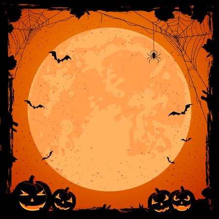 grunge halloween with orange moon, pumpkins, bats and spiders, illustration.