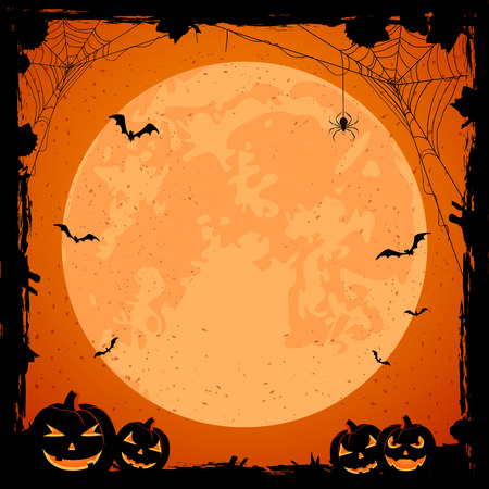 grunge halloween with orange moon, pumpkins, bats and spiders, illustration.