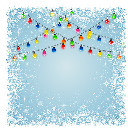 multicolored background: Christmas light bulbs on blue background with frame from snowflakes and stars, illustration.