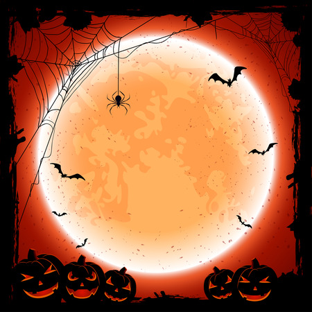 grunge halloween with shining moon, pumpkins, bats and spiders, illustration. Vettoriali