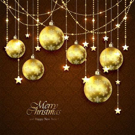 brown wallpaper: Christmas golden balls, stars and decorative elements on brown wallpaper, illustration. Illustration