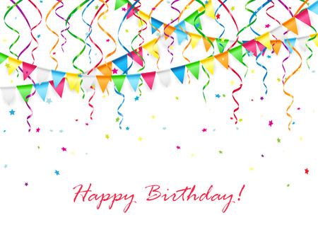 Birthday background with multicolored pennants, streamers and confetti, illustration.