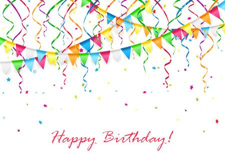 Verjaardag achtergrond met veelkleurige wimpels, slingers en confetti, illustratie.