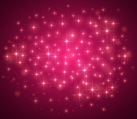 Pink magic background with sparkle stars and blurry lights, illustration. Illustration