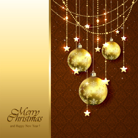 brown wallpaper: Christmas background with golden balls, stars and decorative elements on brown wallpaper, illustration. Illustration