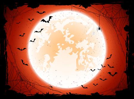 輝く月、コウモリやクモ、イラストとグランジ ハロウィン背景。