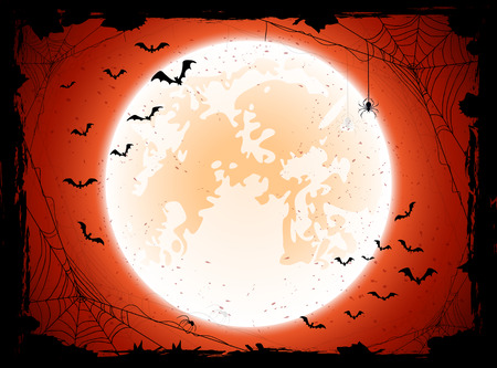 Grunge Halloween background with shining Moon, bats and spiders, illustration.