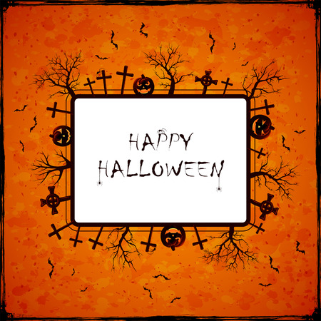 orange trees: Orange Halloween background with banner, cemetery, trees, pumpkins and spiders, illustration.