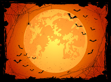Dark Halloween background with orange Moon, spiders and bats, illustration.