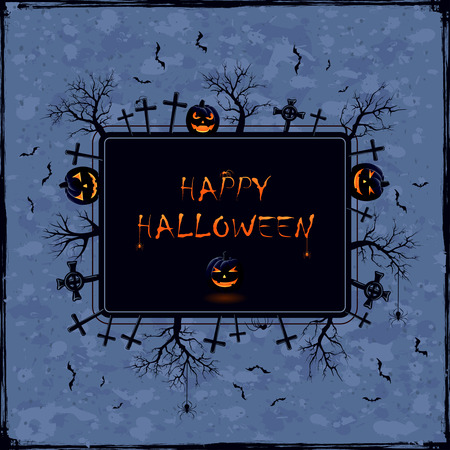 necropolis: Blue Halloween background with banner, cemetery, trees, pumpkins and spiders, illustration.