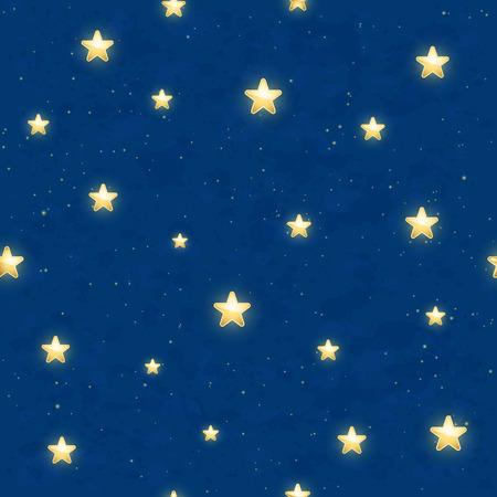 cielo azul: De fondo sin fisuras con el brillo de las estrellas de oro en el cielo azul oscuro, ilustración