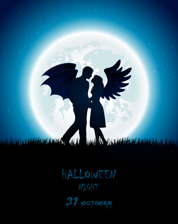 Dark Halloween night with enamored couple of angel and devil, full Moon on the sky background, illustration.