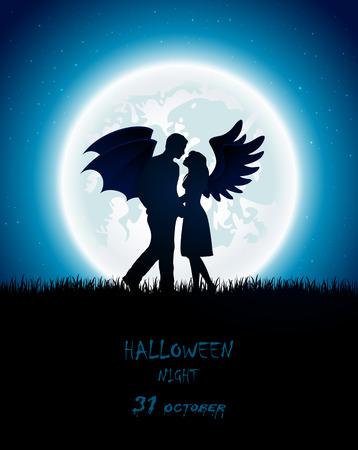 Oscura noche de Halloween con pareja enamorada de ángel y diablo, Luna llena en el cielo de fondo, ilustración.