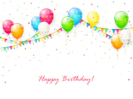 streamers: Birthday balloons, pennants, streamers and multicolored confetti on white background, illustration.