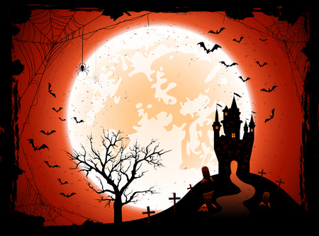 bate: Fondo de la noche de Halloween con la Luna, el castillo, el cementerio y los murciélagos, ilustración.