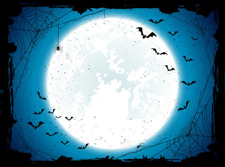 horror: Dark Halloween background with Moon on blue sky, spiders and bats, illustration.