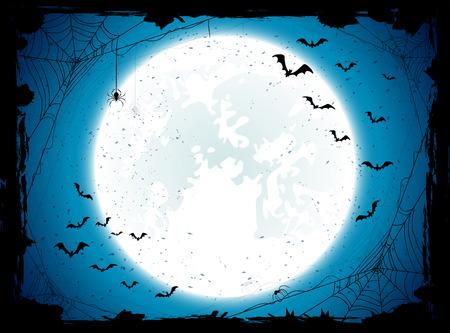 mond: Dunkle Halloween Hintergrund mit Mond am blauen Himmel, Spinnen und Fledermäuse, Illustration.