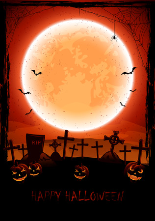 halloween background: Grunge Halloween background with shining Moon, pumpkins, bats and spider on cemetery, illustration. Illustration