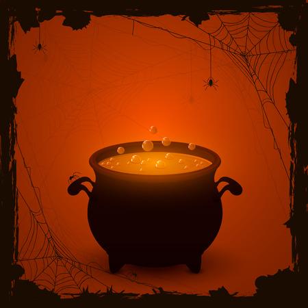 czarownica: Halloween czarownice kocioł z pomarańczowym eliksirem i pająków na ciemnym tle, ilustracji.