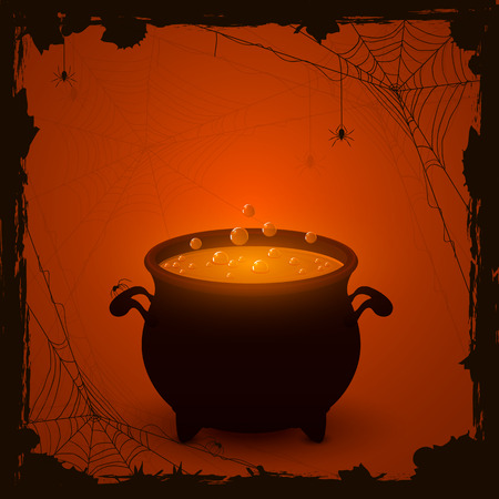 wicked witch: Halloween witches cauldron with orange potion and spiders on dark background, illustration.
