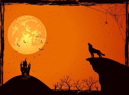 Fondo de la noche de Halloween con el lobo, el castillo, la luna, el cementerio y los murciélagos, ilustración. Ilustración de vector